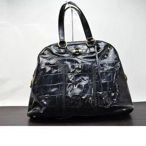 Yves Saint Laurent's enamel black shoulder bag